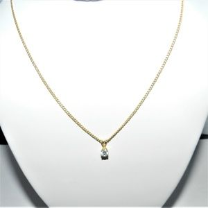 14K Yellow Gold Necklace & CZ Pendant